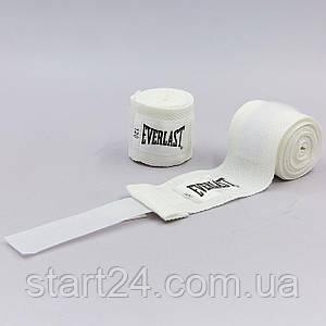 Бинты боксерские (2шт) хлопок с эластаном EVERLAST 4455 LEVEL 1 (l-2,75м, цвета в ассортименте)