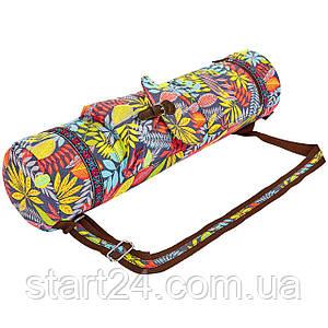 Сумка для йога коврика Yoga bag FODOKO FI-6972-4 (размер 16смх70см, полиэстер, хлопок, красный-желтый)