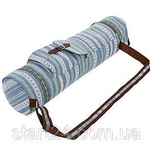 Сумка для йога коврика Yoga bag FODOKO FI-6972-7 (размер 16смх70см, полиэстер, хлопок, серый-синий)