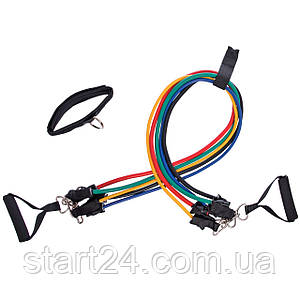 Эспандер Resistance Band многофункциональный 5 жгутов ET-501 (5 эсп,креп.на дверь, 2рукоят, 2лямки)