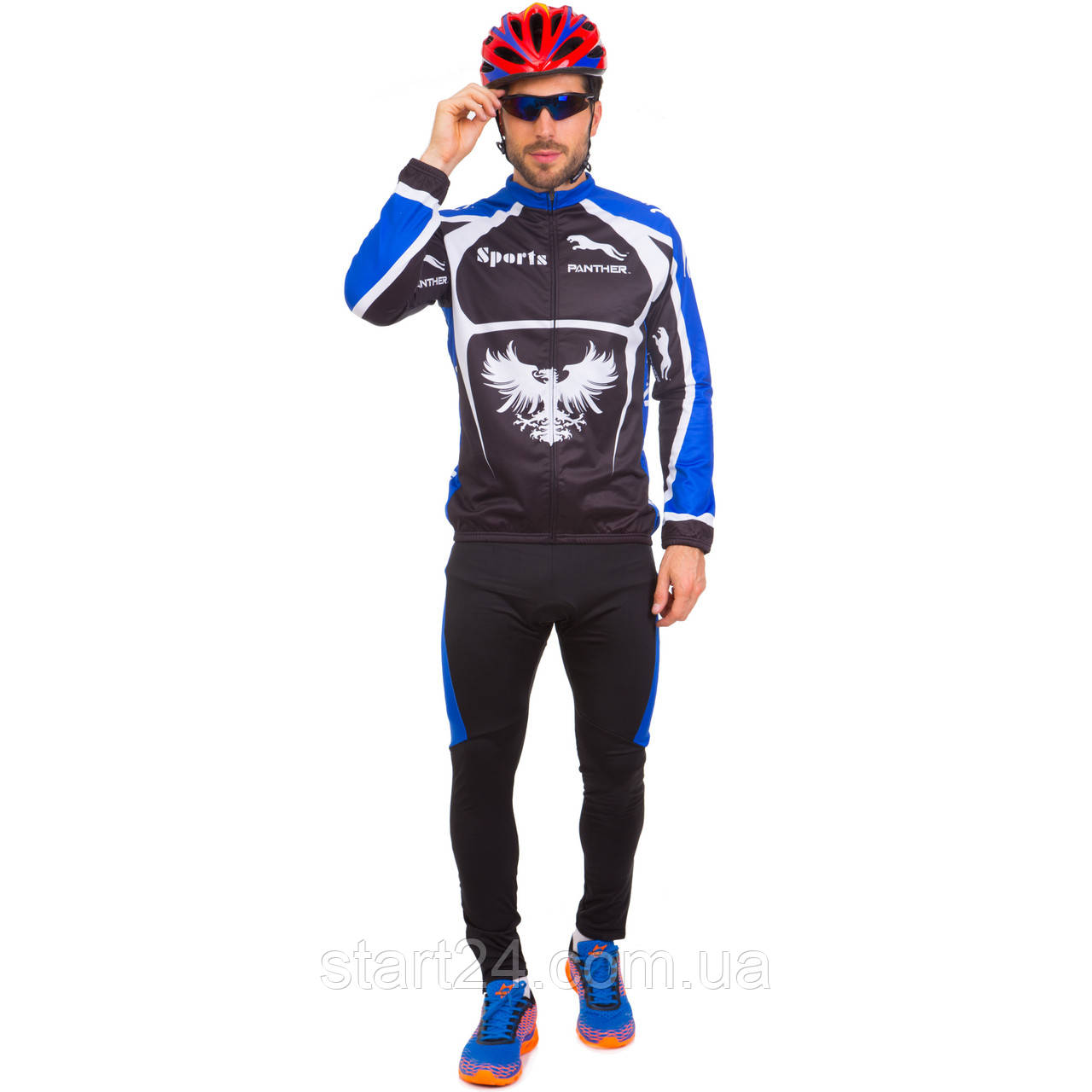 Велоформа довгий рукав утеплена PANTHER NA-LJ-1404 (р-н XL-XXL (46-52), чорний-синій)