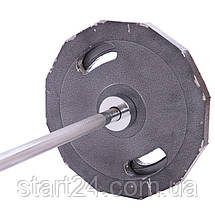 Штанга олимпийская (стальные блины) 73кг UR Newt NT-4737-73 (гриф l-1,8м, d-50мм, бл. 2х(20+10кг)), фото 2