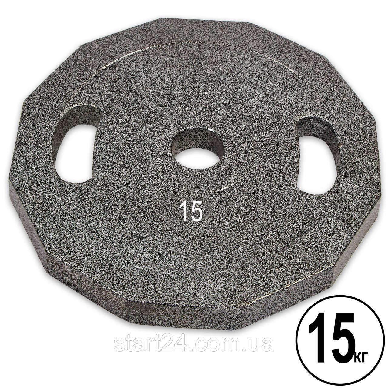Млинці (диски) сталеві з хватом пофарбовані d-52мм UR Newt NT-5221-15 15кг (сталь пофарбована, сірий)