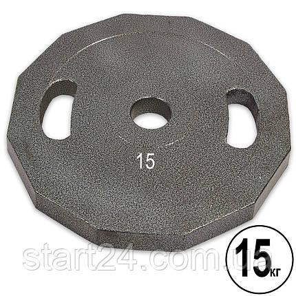 Млинці (диски) сталеві з хватом пофарбовані d-52мм UR Newt NT-5221-15 15кг (сталь пофарбована, сірий), фото 2