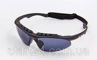 Очки спортивные солнцезащитные OAKLEY 612 (пластик, акрил, резинка шнурок, черный)