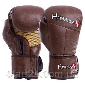 Перчатки боксерские кожаные на липучке HAYABUSA KANPEKI VL-5779 (р-р 10-12oz, коричневый)