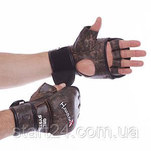 Перчатки гибридные для единоборств ММА кожаные HAYABUSA KANPEKI VL-5780 (р-р M-XL, коричневый)