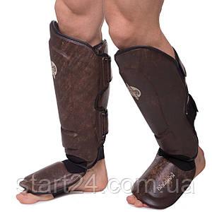 Защита для голени и стопы Муай Тай, ММА, Кикбоксинг кожаная HAYABUSA KANPEKI VL-5783 (р-р M-XL,коричневый)