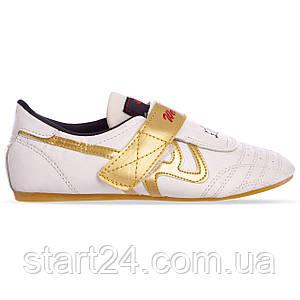 Степки для тхэквондо Wei-Rui OB-4509 (р-р 35-44, верх-PVC, подошва PU, белый-золотой)