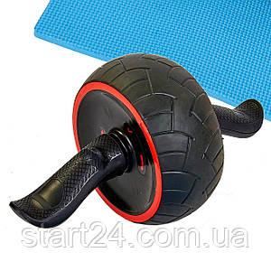 Ролик для преса з поворотним механізмом FI-7066 (d-18см l-39див, метал, чорний-червоний)