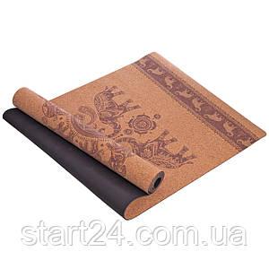 Коврик для йоги Пробковый каучуковый двухслойный 4мм Record FI-7156-1 (размер 1,83мx0,61мx4мм, пробковое