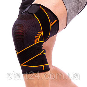 Наколенник эластичный с фиксирующим ремнем и спиральными ребрами жесткости (1шт) EXCEEDE 719CA (р-р S-L,
