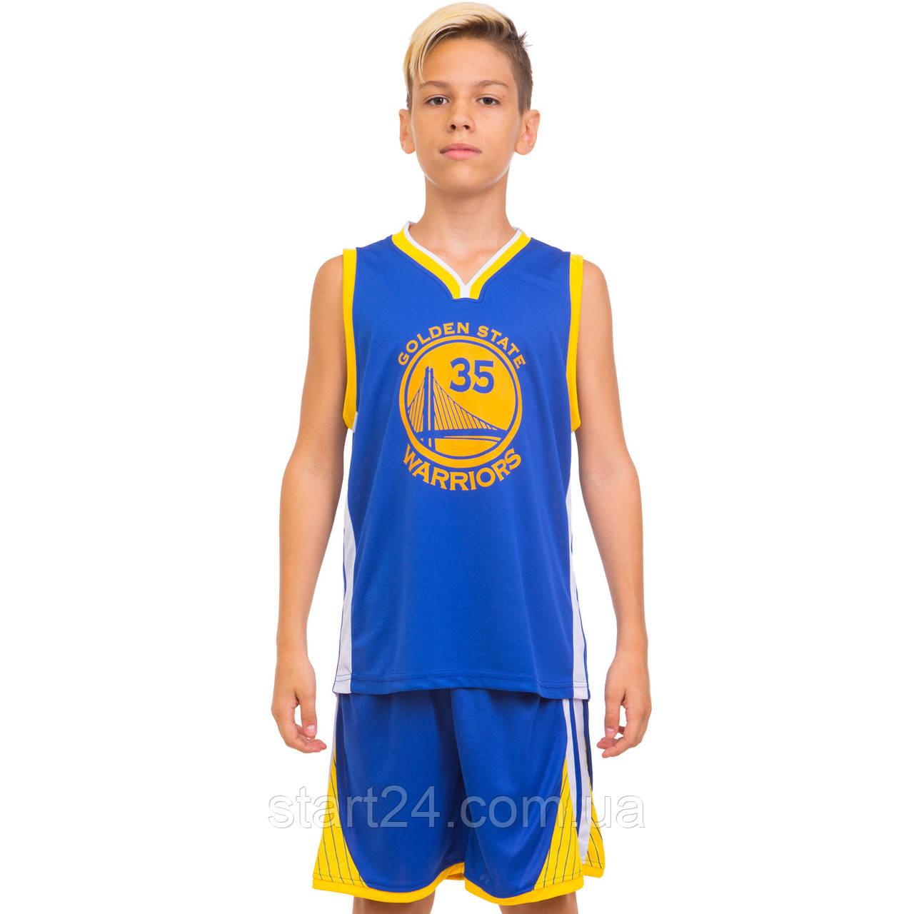 Форма баскетбольная подростковая NB-Sport NBA GOLDEN STATE WARRIORS 7354 (M-2XL-130-165см, синий-желтый)