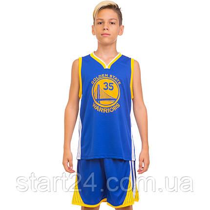 Форма баскетбольная подростковая NB-Sport NBA GOLDEN STATE WARRIORS 7354 (M-2XL-130-165см, синий-желтый), фото 2