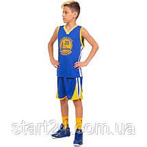 Форма баскетбольная подростковая NB-Sport NBA GOLDEN STATE WARRIORS 7354 (M-2XL-130-165см, синий-желтый), фото 3