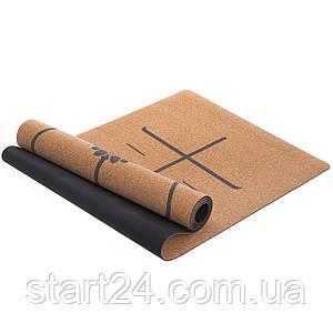 Килимок для йоги Корковий каучуковий двошаровий 4мм Record FI-7156-10 (розмір 1,83мх0,61мх4мм, коркове