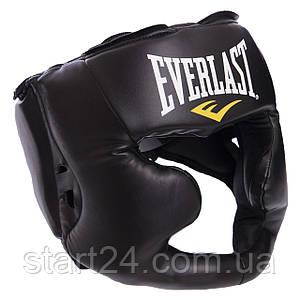 Шолом боксерський з повним захистом PU EVERLAST 7420 MMA HEADGEAR (р-р S-XL, чорний)