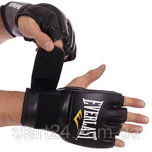Перчатки для смешанных единоборств MMA PU EVERLAST 7778B PRO STYLE GRAPPLING (р-р S-XL, черный-серый)