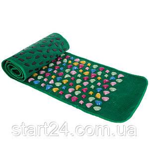 Ортопедичний килимок масажний з камінням (Масажна доріжка) WSX-168 (PVC, пластик, р-р 1,60x0,35м, зелений)