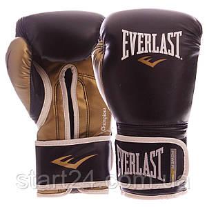 Перчатки боксерские PU на липучке EVERLAST P00000723 POWERLOCK (р-р 14oz, черный-золотой)