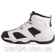 Кроссовки баскетбольные детские Jordan 1802-2 размер 31-35 BLACK/WHITE черный-белый, фото 3