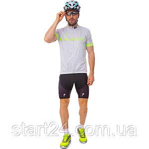 Велоформа короткий рукав с лямками SPECIALIZED Y-128 (р-р M-3XL-55-90кг-168-192см, серый-черный)