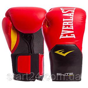 Перчатки боксерские PU на липучке EVERLAST P00001198 PRO STYLE ELITE (р-р 14oz, красный-черный)