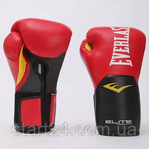 Перчатки боксерские PU на липучке EVERLAST P00001200 PRO STYLE ELITE (р-р 16oz, красный-черный)