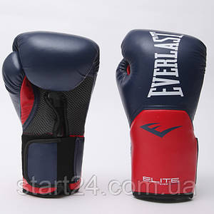 Перчатки боксерские PU на липучке EVERLAST P00001204 PRO STYLE ELITE (р-р 16oz, темно-синий-красный)