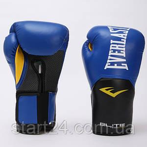 Перчатки боксерские PU на липучке EVERLAST P00001206 PRO STYLE ELITE (р-р 16oz, синий-черный)