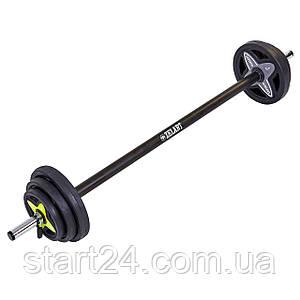 Штанга для фитнеса (фитнес памп) Record FI-7216 20кг (гриф l-1,3м, d-25мм, обрезин.блины 2x(1,25+2,5+5кг),