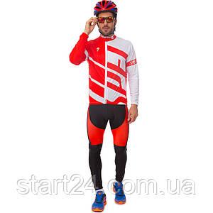 Велоформа длинный рукав с лямками SPECIALIZED Y-5 (р-р M-3XL-55-90кг-168-192см, красный-черный-белый)