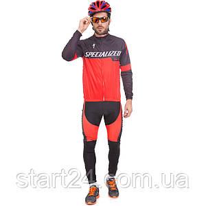 Велоформа длинный рукав SPECIALIZED Y-6 (р-р M-3XL-55-90кг-168-192см, красный-черный)