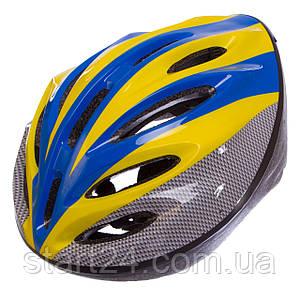 Велошлем кросс-кантри с механизмом регулировки YF-11 (EPS,пластик, PVC, р-р 52-61см, цвета в ассортименте)