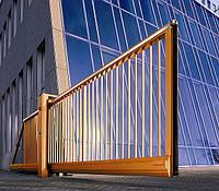 Ворота откатные, зашивка профильная труба, фото 1
