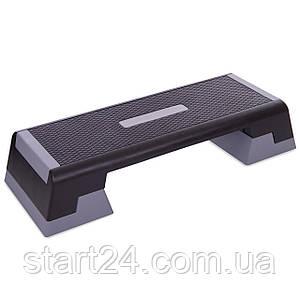 Степ-платформа FI-7226 (пластик, покрытие TPR, р-р 101Lx36Wx15(20)Hсм, черный-серый)