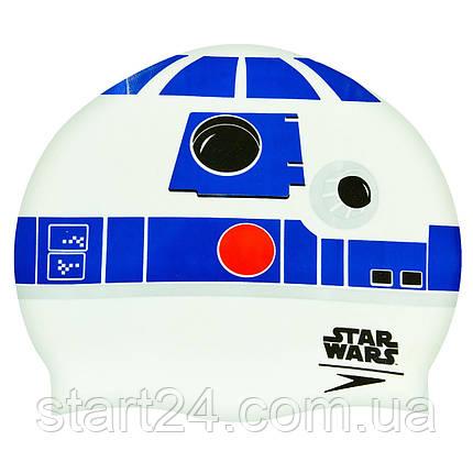 Шапочка для плавания SPEEDO SLOGAN PRINT 808385C631 Star Wars (силикон, белый-синий), фото 2