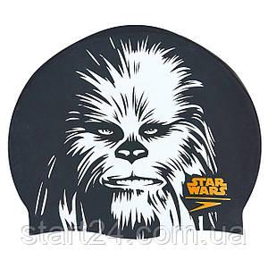 Шапочка для плавания SPEEDO SLOGAN PRINT 808385C743 Star Wars Chewbacca (силикон, черный-белый)