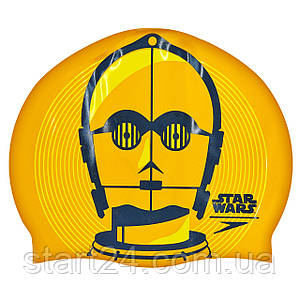Шапочка для плавания SPEEDO SLOGAN PRINT 808385C797 Star Wars C3PO (силикон, оранжевый-черный)