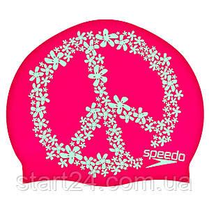 Шапочка для плавания SPEEDO SLOGAN PRINT 808385C899 (силикон, розовый-мятный)