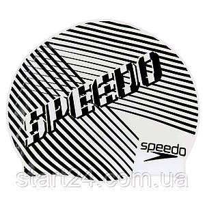 Шапочка для плавания детская SPEEDO JUNIOR SLOGAN PRINT 8083863899 (силикон, черный-белый)