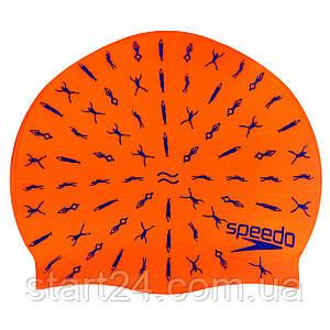 Шапочка для плавания детская SPEEDO JUNIOR SLOGAN PRINT 808386B966 (силикон, красный)