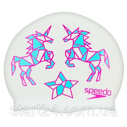 Шапочка для плавания детская SPEEDO JUNIOR SLOGAN PRINT 808386B967 (силикон, белый-розовый), фото 2
