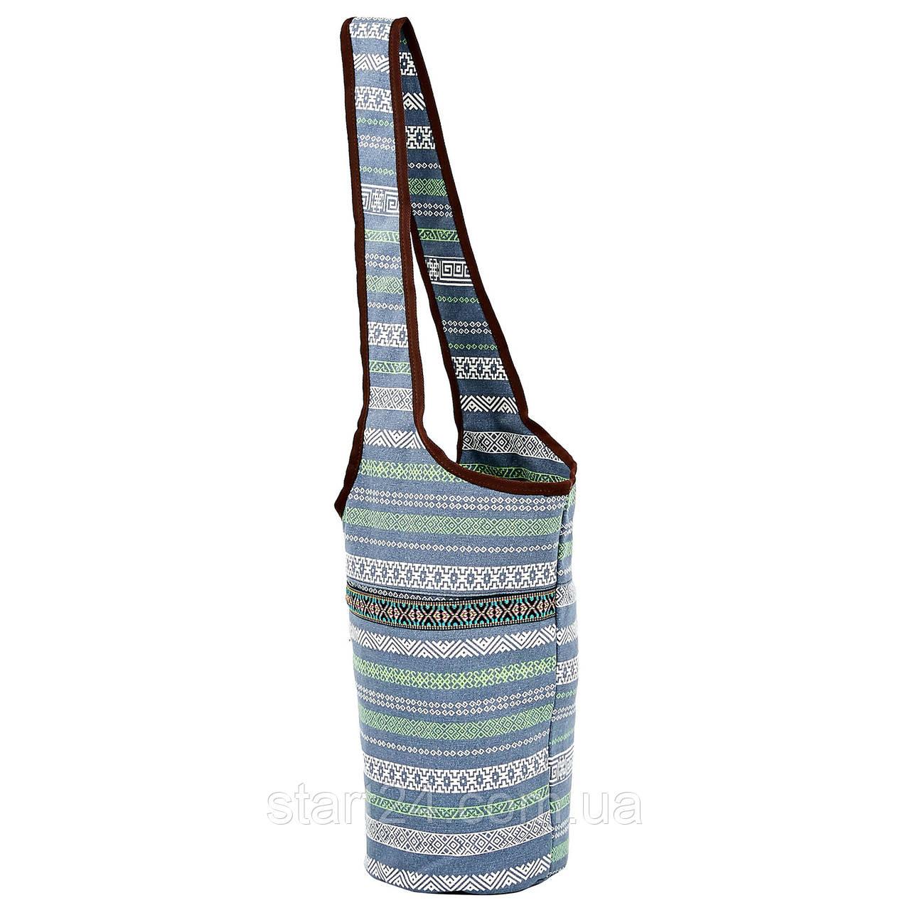 Сумка для фитнеса и йоги через плечо Yoga bag KINDFOLK FI-8364-3 (размер 33смх84см, полиэстер, хлопок,