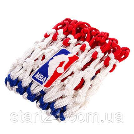 Сетка баскетбольная SPALDING 8219SCNR (полиэстер, 12 петель, цвет бело-красно-синий, в компл. 1шт, вес 220гр), фото 2