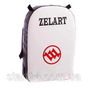 Макивара Прямая кожаная (1шт) Zelart ZB-6108 (поддержка для рук, р-р 52x35x10см, белый-черный)