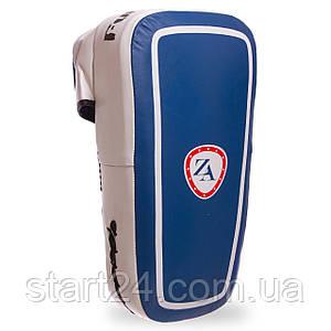 Маківара тай-пед зі шкіри та PVC (1шт) Zelart ZB-6155 (р-р 38x21x9 см, синій-білий)