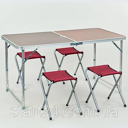 Набор для пикника (стол+4стула) 8278 (р-р стола 60х120см, металл, ламин.ДСП), фото 2