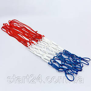 Сетка баскетбольная SPALDING 8279SCNR (полиэстер, 12 петель, цвет бело-красно-синий, в компл. 1шт, вес 59гр)