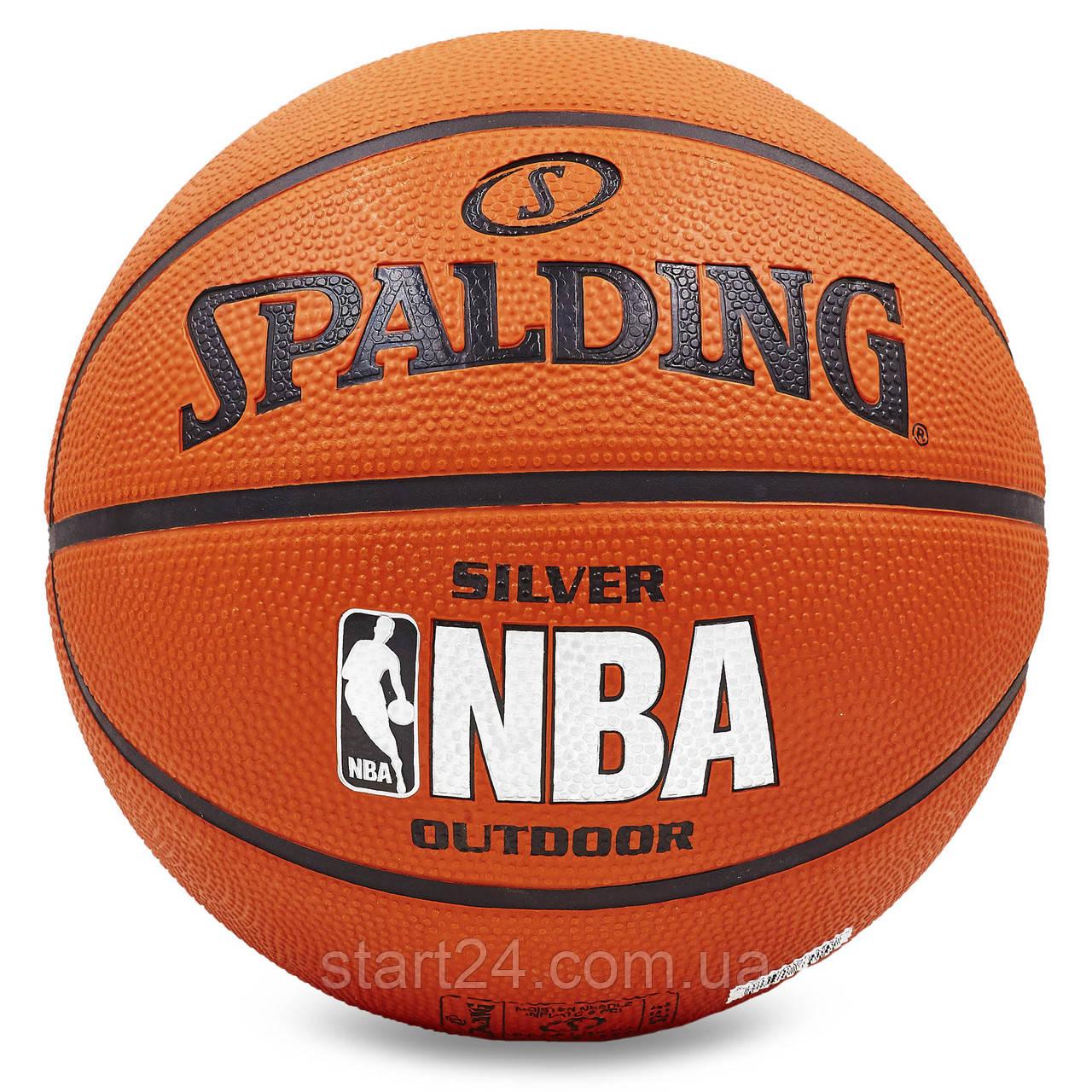 М'яч баскетбольний гумовий №5 SPALDING 83014Z 2014 NBA SILVER Outdoor (гума, бутил, оранжевий)